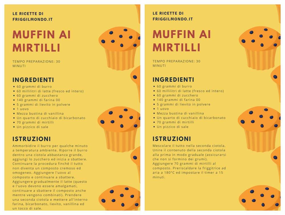 Friggilmondo ricetta muffin mirtilli friggitrice ad aria